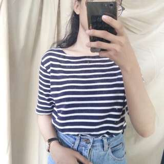 Top pendek kaos stripes