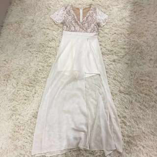 readystock white lace short sleeve maxi boho sexy slit prom dress plus size 2xl