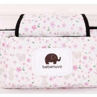 嬰兒推車置物袋 防水粉碎花小兔