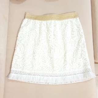 正韓國製korea彈性鑲蔥蕾絲雕花抽鬚短裙包裙