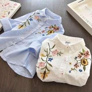 預購「7-15碼刺繡花朵條紋襯衫女童裝」