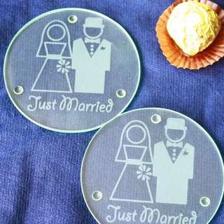 PO Just Married Couple Glass Coaster Wedding Favor