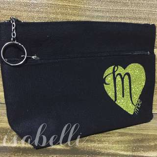 Personalized Multizip Black Canvas Pouch with keyring