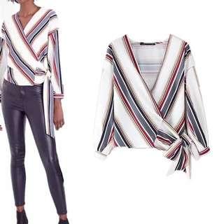2018 European Station Fashion V-Neck Long Sleeve Striped Printed Belted Kimono Top