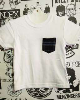 T-shirt white with pocket blue kids