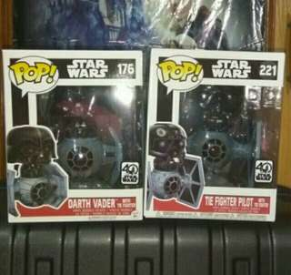 Star Wars Darth Vader and Tie Fighter Pilot Deluxe Funko Pop Bundle