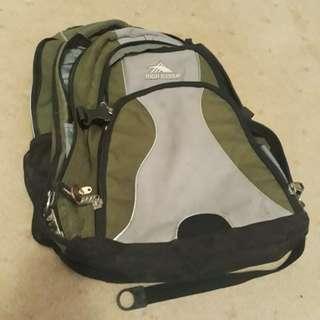 High Sierra Green and Grey Backpack