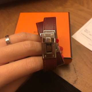 Authentic Hermes kelly double leather bracelet 手帶 名牌