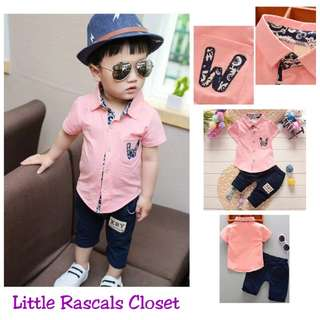 Boys Pink Button (T-shirt) + Pants