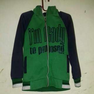 Jaket Hoodie Unisex..warna hijau army mix navy sze L