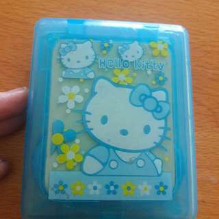 Preloved Tempat Softlents Hellokitty Biru Lucu