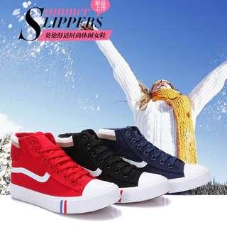 韓版高版帆布鞋女  35~40碼 黑 紅 藍