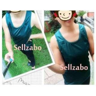 Free Size Singlet Top Green Silky Sleeveless Sellzabo #S43 Ladies Girls Women Female Lady