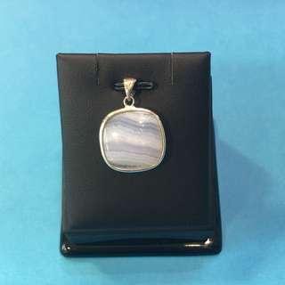 No:030 天然紫瑪瑙石,鑲925純銀吊墜20x6mm
