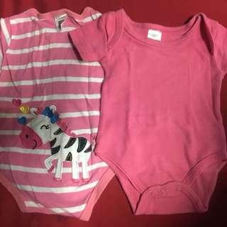 2pcs 3-6 Months baby girl's short sleeve onesies
