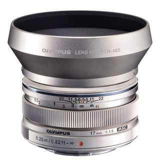 M Zuiko 17mm f.1.8 Olympus Lens with Lens Hood