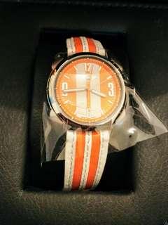 寶馬MINI-84 橙白間條真皮女裝石英腕表