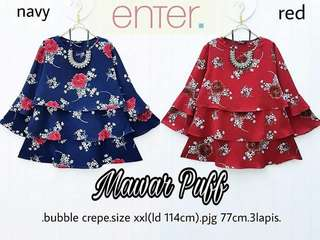 [PO] Flower Bubble Crepe Blouse