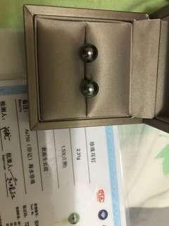 大溪地孔雀綠珍珠耳釘