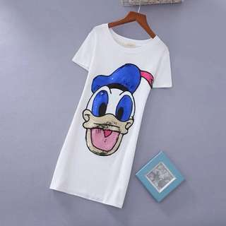 PO-Donald Duck long shirt - white