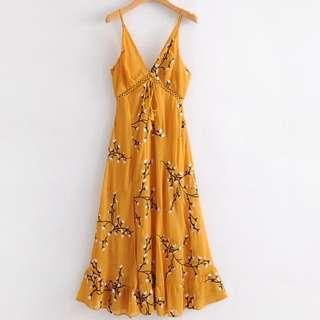 🔥Europe summer style embroidery tassel long dress