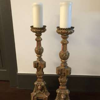 Pair of gold gilded Louis XVI candlesticks (18th century)