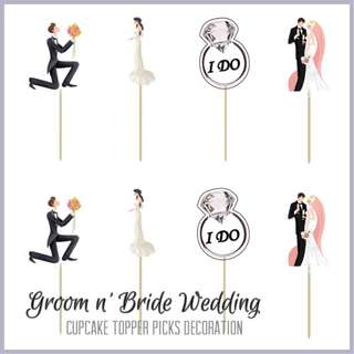💏 GROOM n' BRIDE WEDDING • ENGAGEMENT CUPCAKE TOPPER PICKS DECORATION