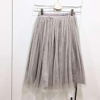 灰色 半身裙 紗裙