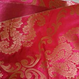 Imported Gold Flower Red Velvet Fabric