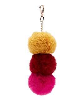 Red Multi Pom Pom Keyring / Bag Charm