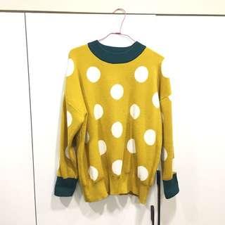 黃點點  圓點 針織衫 毛衣