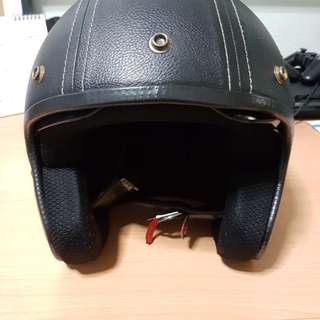 TRAX black leather helmet