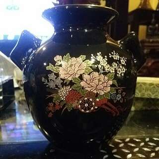 Black Base Colorful Flowers Small Vase