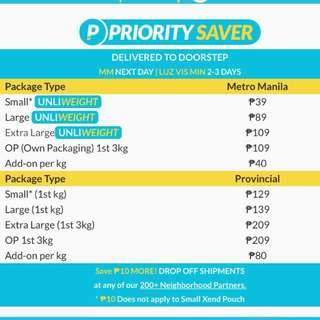 Lowest Xend Shipping Rate! Only Php39.00!!