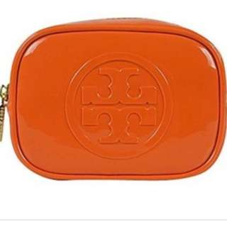 TORY BURCH Cosmetic Pouch - Glossy Orange  *brandnew*