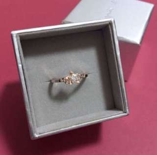 (NEW) Agnes b - Rose Gold Ring with Crystal