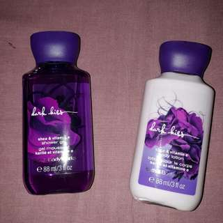 Bath and Body Works lotion and shower gel