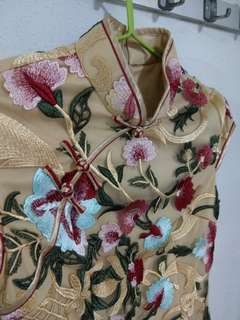 Cloth.ier Floral Embroidery Cheongsham