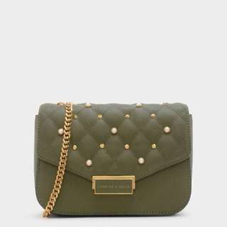 Charles and keith stud detail quilted crossbody bag
