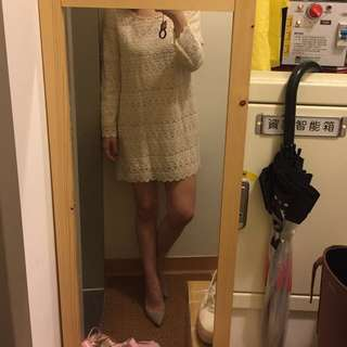 🚚 正韓Dobe Korea,前布蕾絲後雪紡米白色順身洋裝