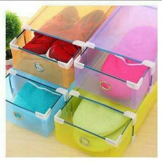Shoe Box Storage Plastic Colorful Rack Stand