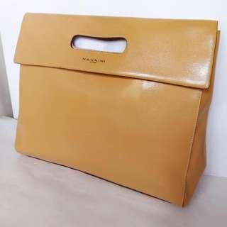 意大利製NANNINI真皮皮革手袋 手挽袋 Made In Italy Genuine Leather Clutch Handbag