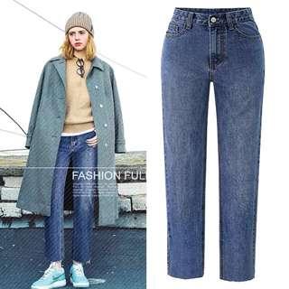 (XL~5XL) Cowboy pants European and American large size loose cowboy straight jeans pants