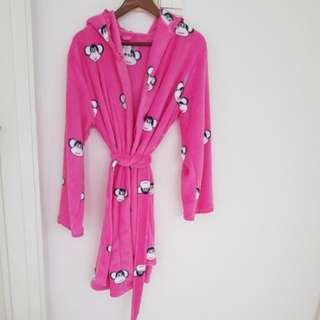 BNWT La Senza Bathrobe Coverup Fleece Pink S/M Swim Beach Ape Monkey Paul Frank Style