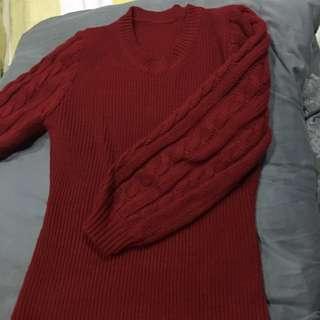 🚚 紅色羊毛混紡毛衣