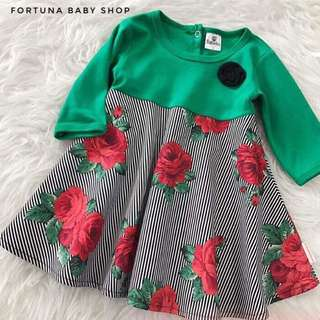 Emerald roses dress