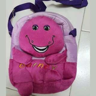 New original girls boys  children  Barney purple  Dinosaur plushie sling bag