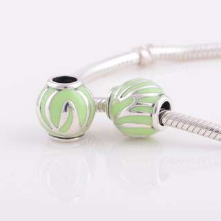 Code MS76 - Green Bead 100% 925 Sterling Silver Charm, Chain Is Not Included, Compatible With Pandora