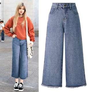 (XL~5XL) 2018 European and American wide leg pants nine points pants high waist jeans pants