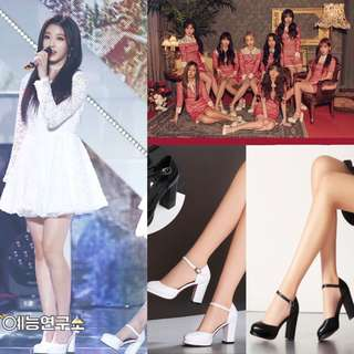 [FAST PO] Korean Ulzzang Lovelyz Buckle White & Black Leather Platform High Heel Shoes Waterproof